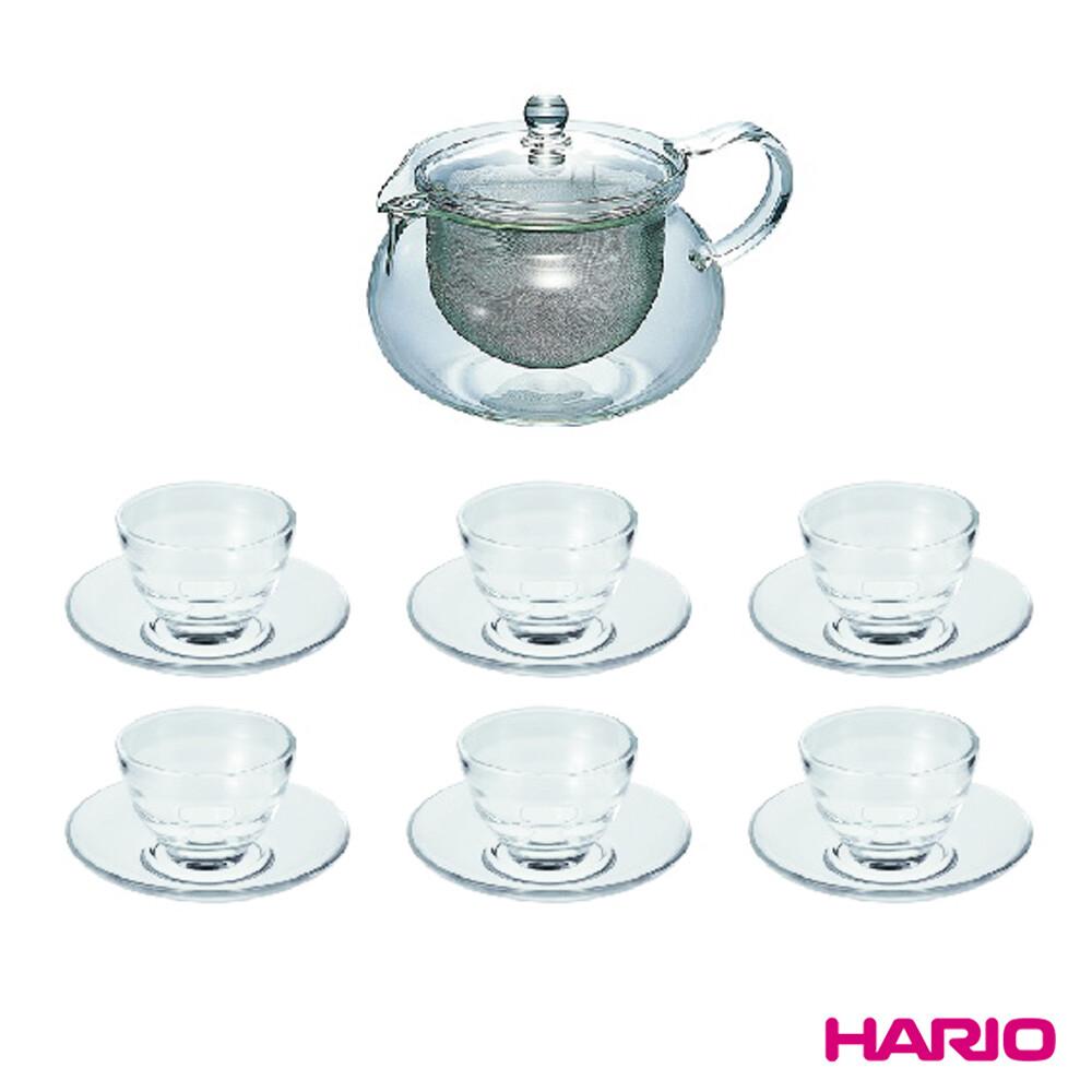 [福利品]hario茶茶急須一壺六杯盤組(附濾網丸形茶壺玻璃湯吞杯玻璃茶盤)