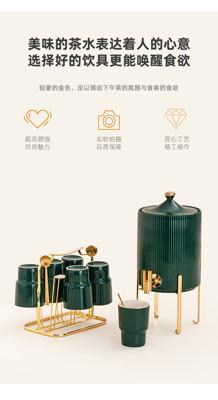 帶龍頭冷水壺 高顏值家用客廳水具套裝創意陶瓷冷水壺帶托盤帶水龍頭涼水壺杯子 (5折)