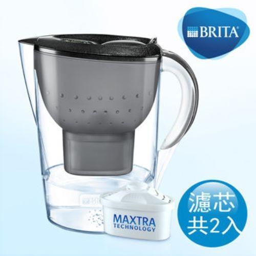 德國brita 馬利拉3.5l星燦濾水壺+1支濾芯-黑色本組合共2芯