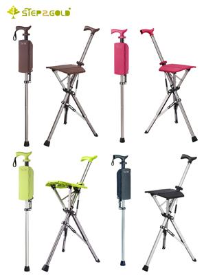 【Ta-Da 泰達椅】 自動手杖椅/拐杖椅 二代 (經典黑、咖啡棕、萊姆綠、玫瑰紅) -100Kg (8.9折)