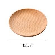 艾思黛拉木質日式圓形托盤 居家木質早餐碟子 家用餐具 小托盤 西餐盤 水果點心