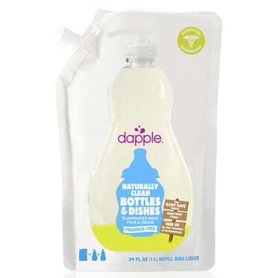 美國Dapple奶瓶及餐具清潔液-無香精1L(補充包) (5.9折)