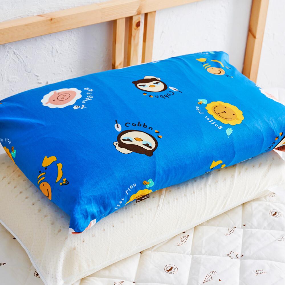 奶油獅同樂會系列-100%精梳純棉信封式標準枕通用枕頭套(宇宙藍)
