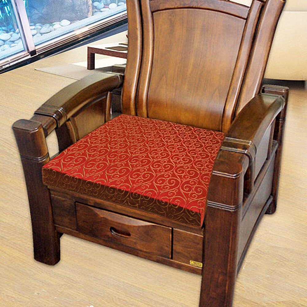 凱蕾絲帝台灣製造-高支撐記憶聚合緹花坐墊/沙發墊/實木椅墊54x56cm-如意紅