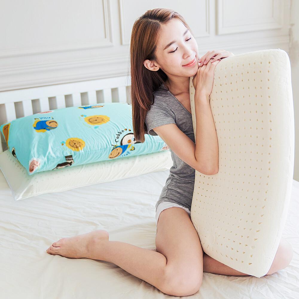 奶油獅同樂會系列-成人專用-馬來西亞進口純天然麵包造型乳膠枕(湖水藍)