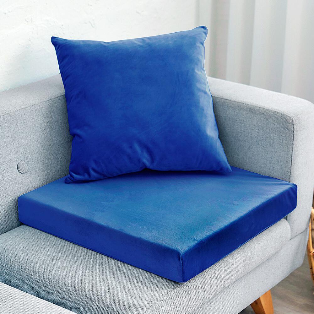 凱蕾絲帝台灣製造-高支撐記憶聚合加厚絨布坐墊/沙發墊/實木椅墊55x55cm-深藍