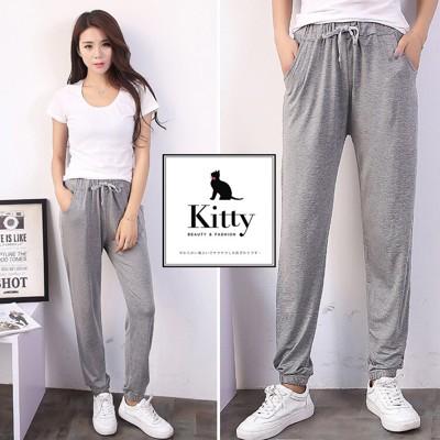 莫代爾棉 休閒褲 瑜珈褲 長褲 寬鬆舒服 中大尺碼 肉肉女可穿 L-XL適合 (2.7折)