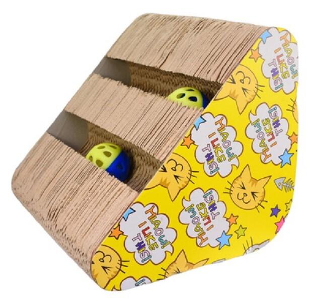 [s20-13] 優米卡紙抓板(側邊三角帶球)寵物用品 貓用品 貓玩具 瓦楞箱 抓板 貓磨爪 貓樂園