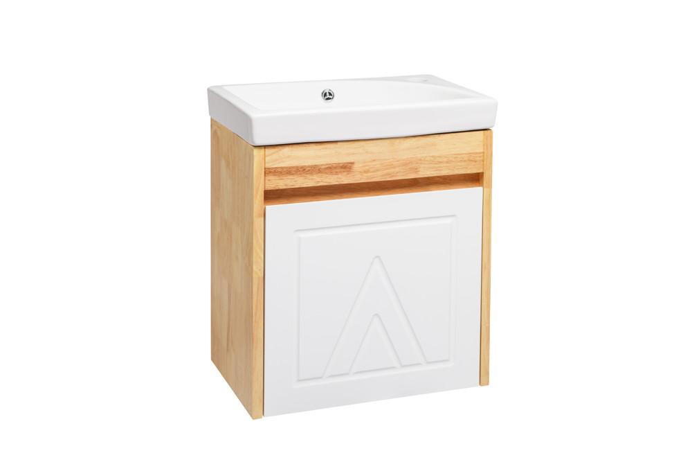 水龍頭+木紋浴櫃面盆組 寬46cm 深29cm 高52cm 鄉村風格 橡木實木