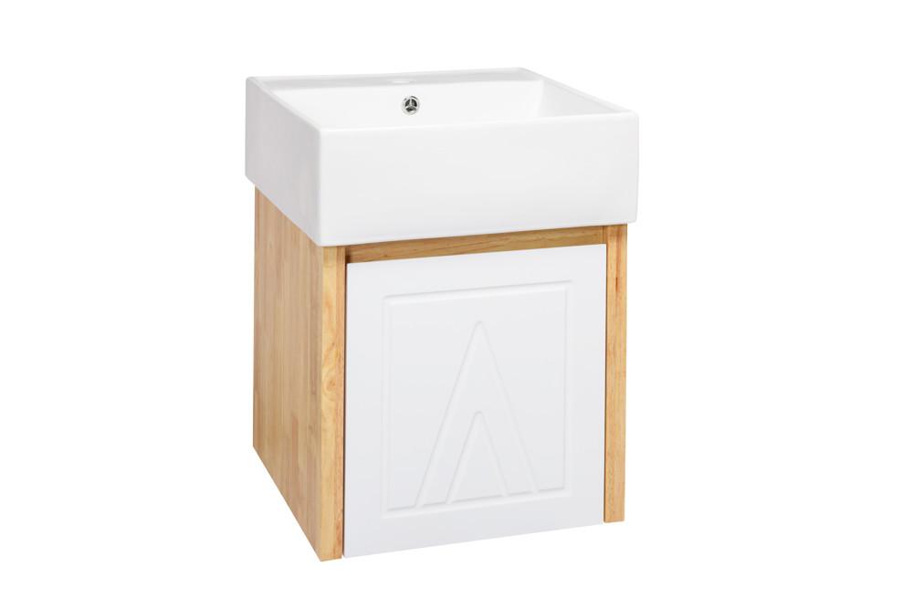 水龍頭+木紋浴櫃面盆組 寬47m 深47cm 高60cm 鄉村風格 橡木實木