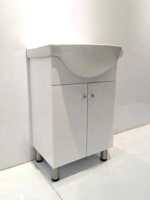 洗臉盆(大肚盆)+浴櫃(落地)+水龍頭 寬55x深53x高82cm 100%防水PVC發泡板鋼琴烤漆 (6.7折)