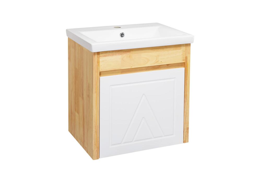 水龍頭+木紋浴櫃面盆組 寬55cm 深42cm 高62cm 鄉村風格 橡木實木