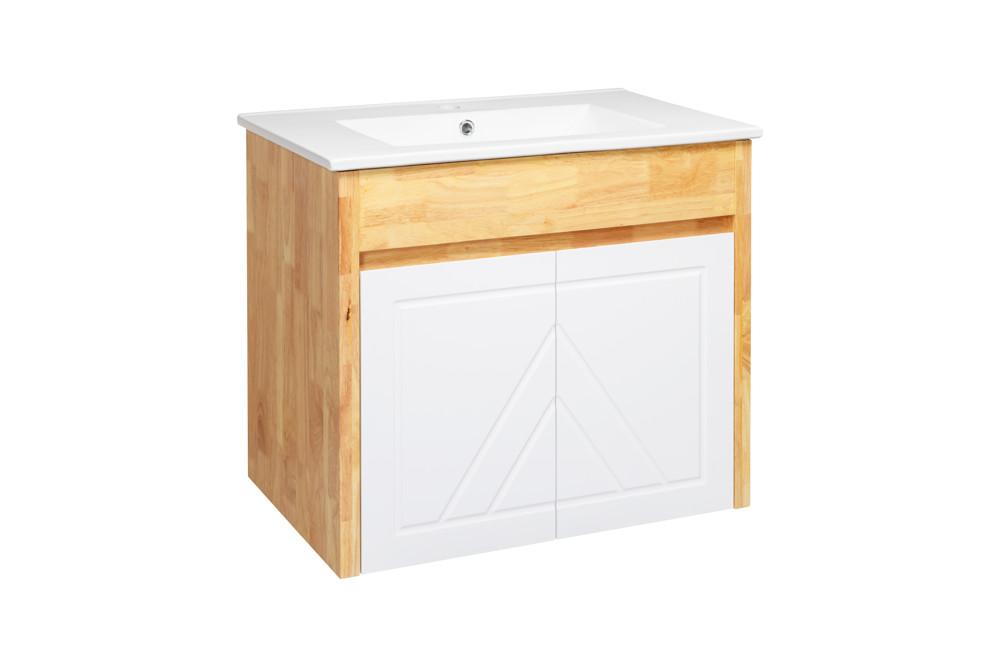 水龍頭+木紋浴櫃面盆組 寬81cm 深47cm 高62cm 鄉村風格 橡木實木