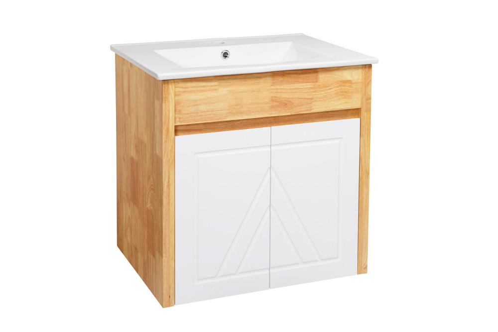水龍頭+木紋浴櫃面盆組 寬61cm 深47cm 高62cm 鄉村風格 橡木實木