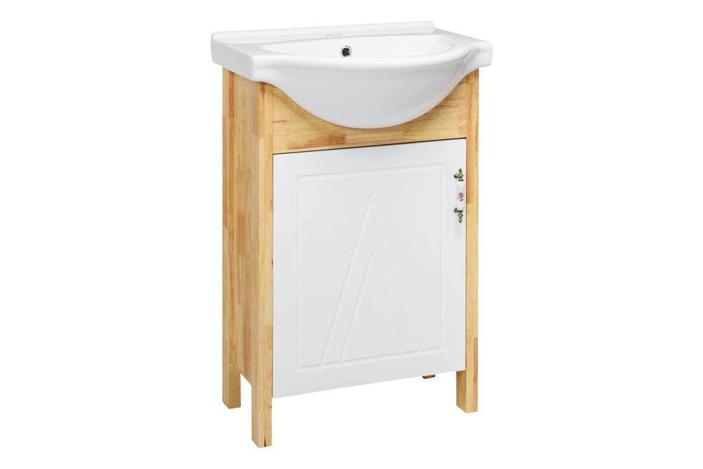 水龍頭+木紋浴櫃面盆組+木紋鏡 寬55x深54x高84cm 鄉村風格 防水材質不腐爛