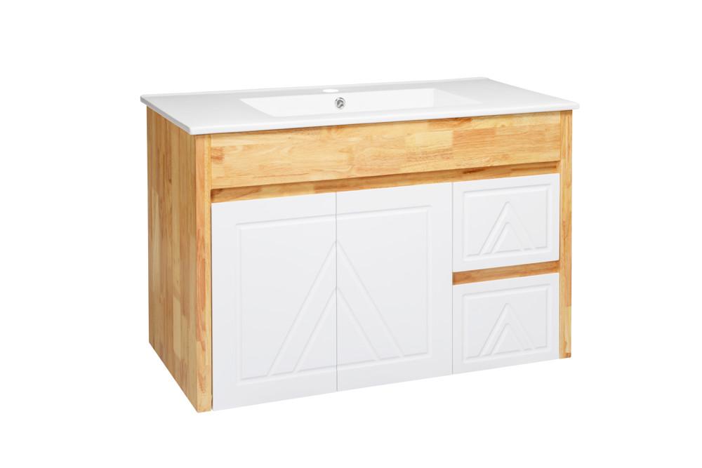 水龍頭+木紋浴櫃面盆組 寬91cm 深47cm 高62cm 鄉村風格 橡木實木