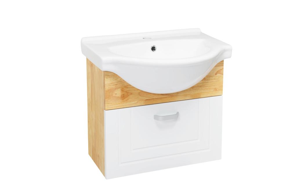 水龍頭+木紋浴櫃面盆組(吊櫃)+木紋鏡 寬55x深54x高50cm 鄉村風格 防水材質不腐爛