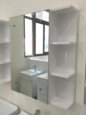 鏡櫃 鏡箱 單門 浴室 寬60x高70x深15cm 半開放式收納 浴室不雜亂 PVC防水發泡板 (7.6折)