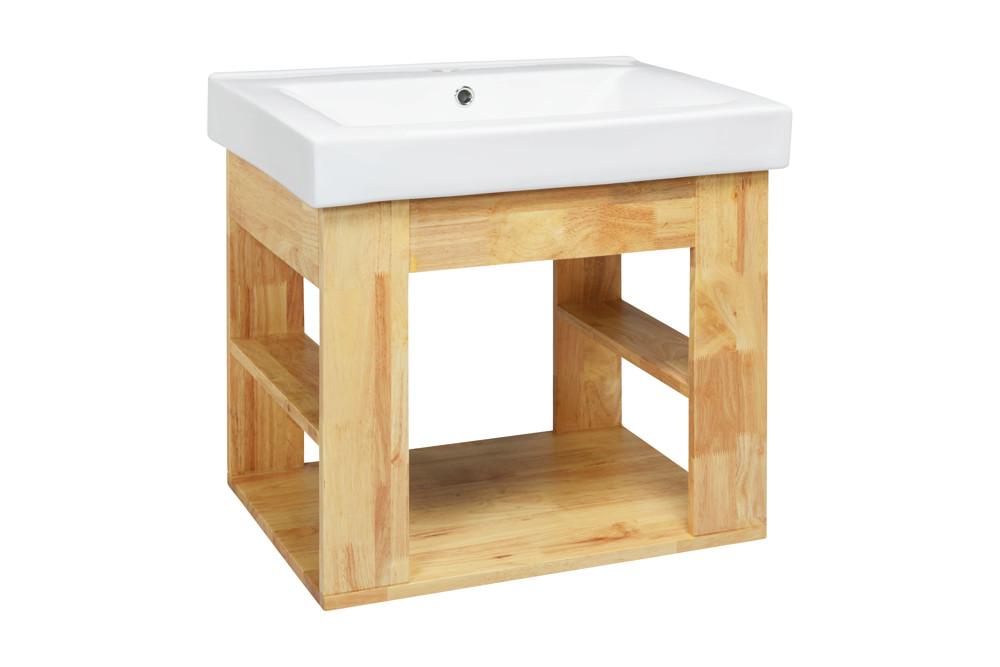 水龍頭+木紋浴櫃面盆組 寬61cm 深47cm 高57cm 鄉村風格 防水材質不腐爛