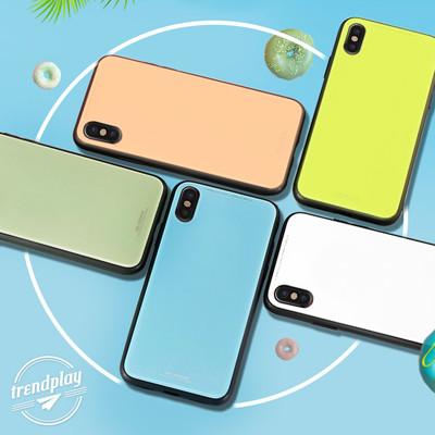 馬卡龍鏡面玻璃保護殼 9H鋼化玻璃彩色手機殼 iPhoneXs iPhone8 i7 i6 Plus (2.5折)