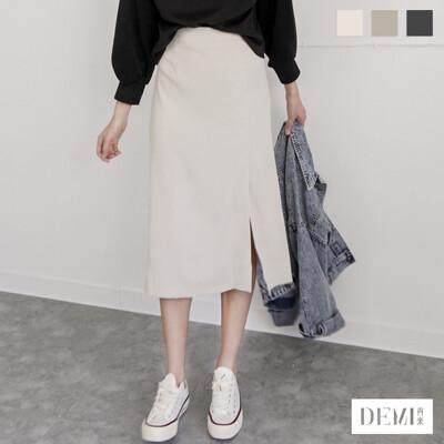 側開岔後鬆緊中長裙 共3色 ( 氣質黑/清新綠/純米白 )【DEMI丹米】 (4.5折)