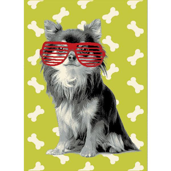 范登伯格 flash可愛小狗地毯-綠款-120x170cm