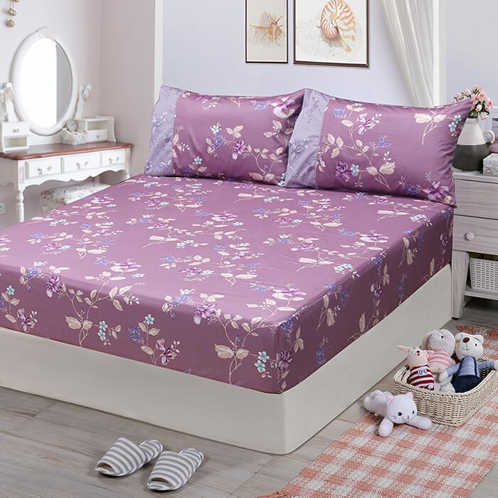 fitness精梳棉雙人加大床包枕套三件組-馬格森特(紫紅)