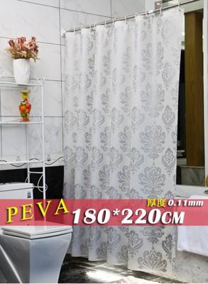 防水浴簾 銀色圖騰 寬180x高220 180*220 低調奢華PEVA贈掛勾金屬扣眼隔間門簾 (5.2折)