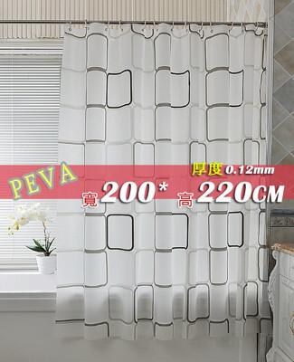 防水浴簾 PEVA加厚黑白方格 寬200x高220 200*220 贈掛鈎擋冷暖氣加金屬扣 (5.2折)