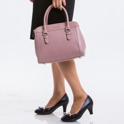 le Lufon 雙拉鍊三層收納實用手提兩用包(S) 手提包/斜背包/側背包/單肩包(粉紅/米白色) (3.4折)