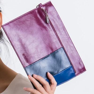 le Lufon 油蠟皮鮮明拼色感參拉鏈方形實用手拿包-手機包/零錢包/證件包 (3.4折)