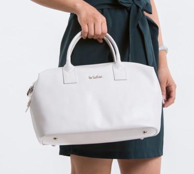 le Lufon 荔枝紋革圓桶長型大容量手提包(M)- 珍珠黑色 軟包 輕量型皮包 波士頓包 (3.4折)