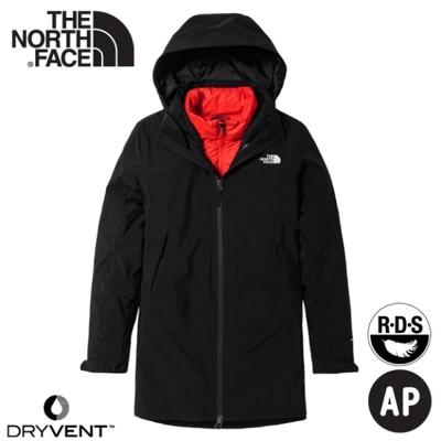 The North Face 女 二件式防風透氣羽絨外套《黑/粉橘》4NAI/保暖連帽外套/防潑水/ (8.5折)