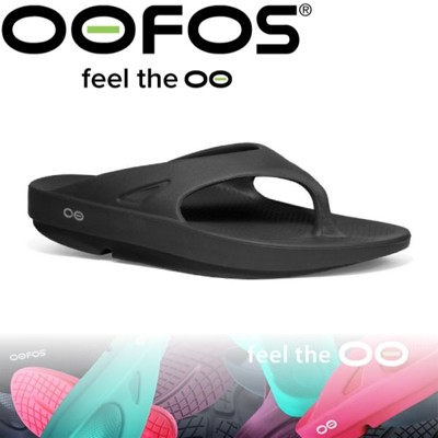 OOFOS 美國 女 夾腳舒壓健康拖鞋《黑》W1000-BL/紓壓拖鞋/氣墊鞋/拖鞋/懶人拖/人字拖 (9折)
