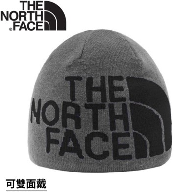 The North Face 雙面LOGO保暖毛帽《灰/黑》AKND/保暖帽/毛帽 (8.4折)
