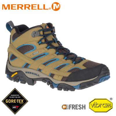 MERRELL 美國 男 MOAB 2 MID GORE-TEX 戶外多功能登山鞋《卡其/霧藍》03 (8折)