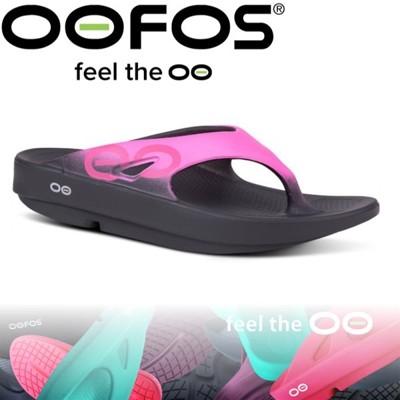 OOFOS 美國 女 夾腳舒壓健康拖鞋《黑/粉紅》W1001-PINK/彈力涼鞋/海灘拖鞋/懶人夾腳 (9折)