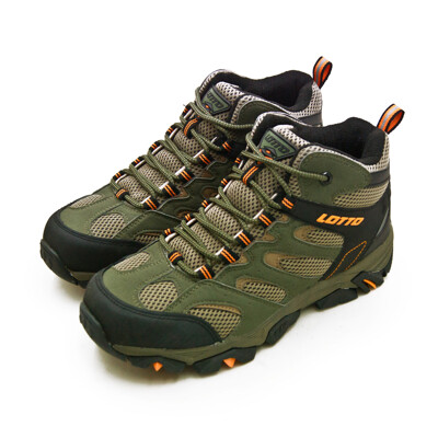 lotto專業多功能防潑水郊山戶外健行登山鞋 sabre mid 2系列 綠棕黑 0555 男 (7.9折)