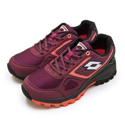 lotto專業防潑水郊山越野跑鞋 cross run 跨越叢林系列 葡紫黑 1052 女 (8.8折)