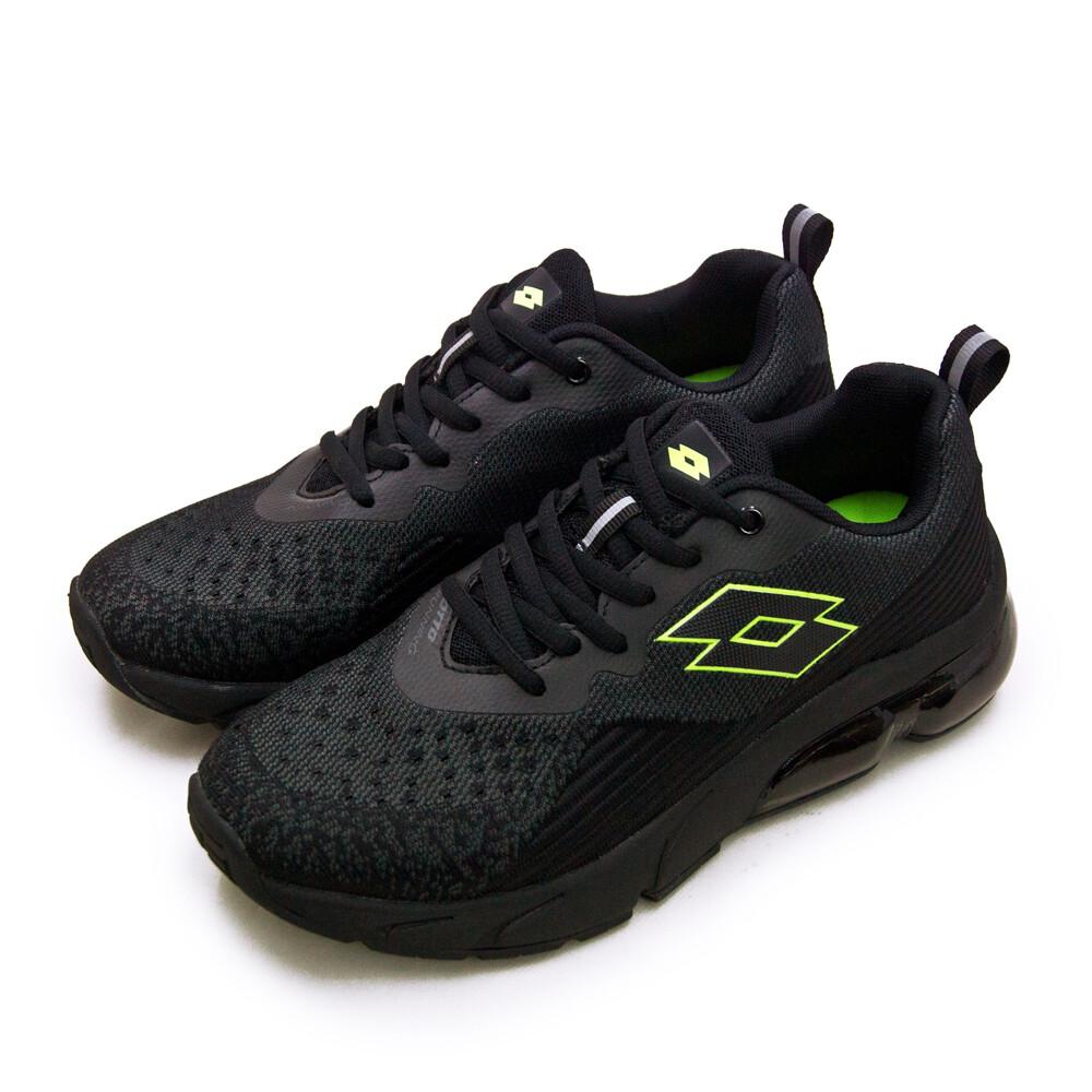 lotto專業編織避震氣墊慢跑鞋 nova+ 新星系列 黑螢綠 1600 男