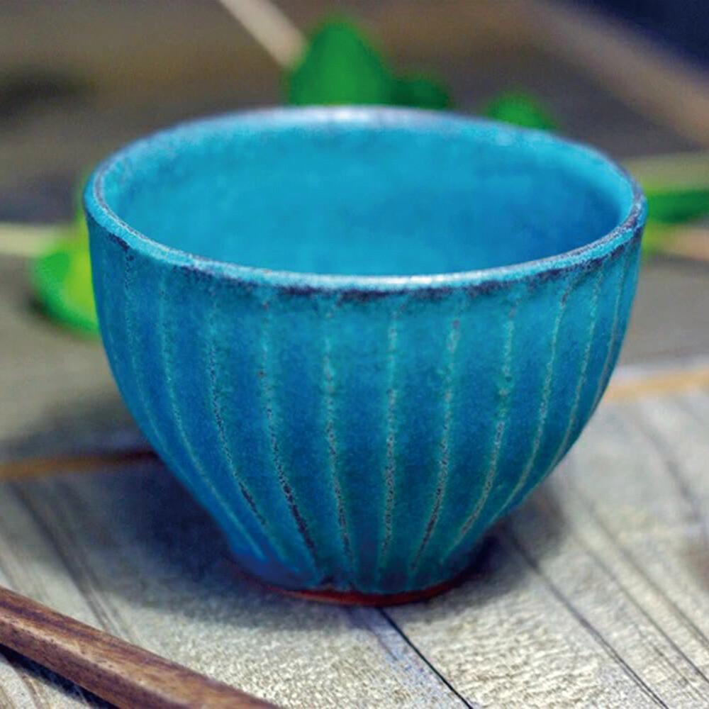 日本益子燒 - 青綠燻刻紋茶杯