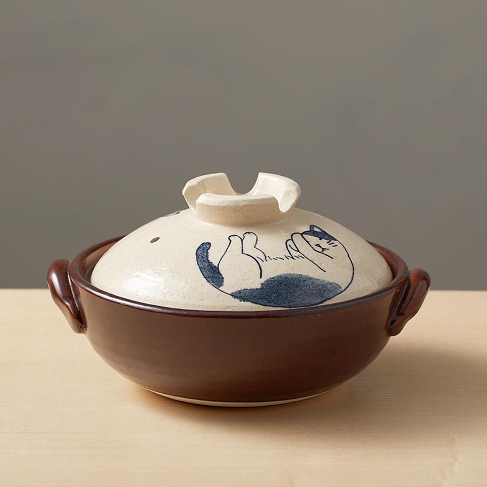 日本萬古燒-手繪土鍋8號-貓咪打呼(2.1l)