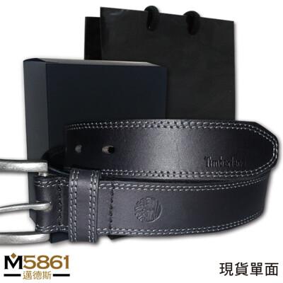 【Timberland】男皮帶 皮帶 雙車線 仿舊銀扣頭/炭黑 (8.8折)