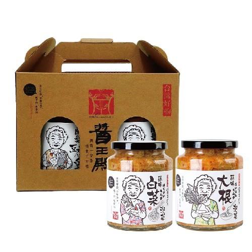 鮮食優多  醬王殿  蒜味泡菜600gx2瓶禮盒+蒜味蘿蔔泡菜600gx2瓶(禮盒組)