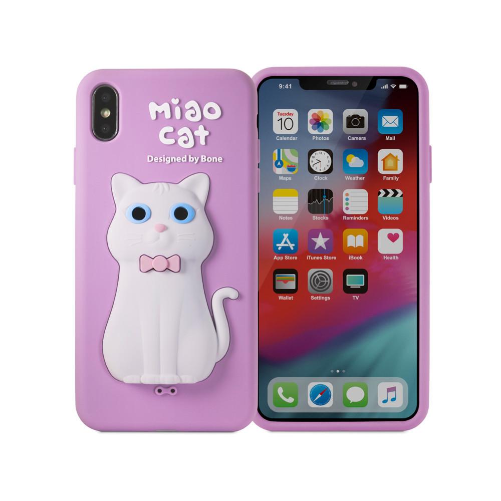 bone 官方iphone xs max 手機殼 公仔保護套 - 喵咪 (薰衣紫)