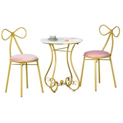 陽臺桌椅 組合桌椅 桌椅 小仙女小茶幾-feng - 蝴蝶桌椅一桌兩椅金色坐墊白色 (5.1折)
