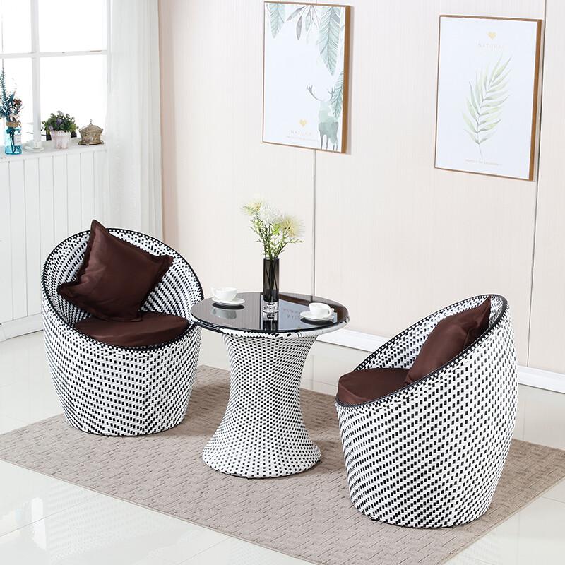 陽台桌椅休閒椅子小茶幾藤椅三件套臥室現代簡約戶外桌椅組合庭院 3c精品閣~