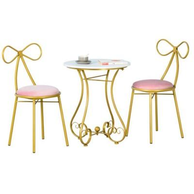 陽臺桌椅 組合桌椅 桌椅 小仙女小茶幾(3c精品閣) - 蝴蝶桌椅一桌兩椅金色坐墊白色 (5.2折)