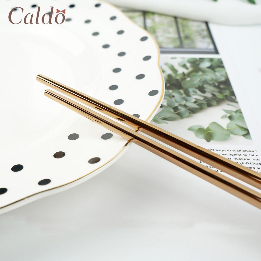 caldo卡朵生活貴氣玫瑰金不鏽鋼筷