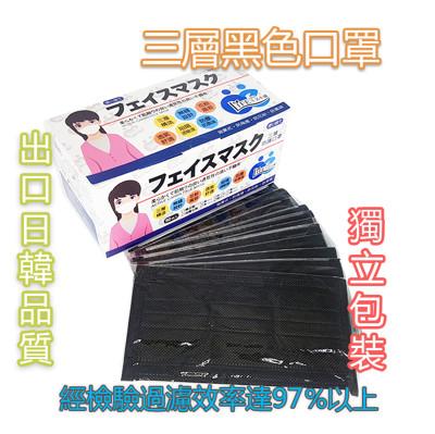 夏季首選三層黑色平面口罩獨立包裝
